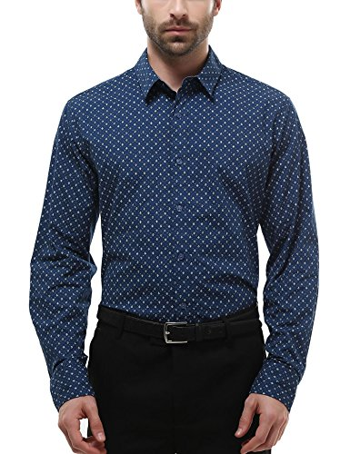Bentibo Mens Navy Casual Pattern Printed Long Sleeve