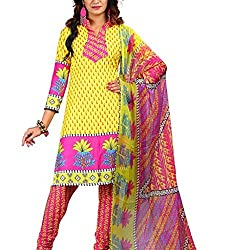 Shree Hari Creation Women's Poly Cotton Unstitched Dress Material (235_Yellow_Free Size)