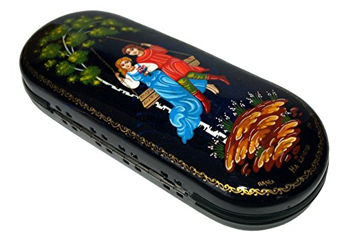 Hand Painted Eyeglass Case - Each item Unique - Traditional Folk Style Painting - Hard Holder for both Eyeglasses and Sunglasses- The Fedoskino style (Salt Life Camo Visor compare prices)