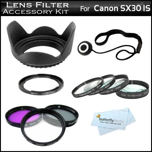 67mm Lens Filter Kit For Canon SX40 HS SX50 HS, SX60 HS, SX520 HS, SX530 HS, SX540 HS Digital Camera Includes Filter Adapter (Replaces FA-DC67A) + Close Up Lens Kit Includes +1 +2 +4 +10 + 3pc Filter Kit + More (Lens Cap For Canon Sx520 Hs compare prices)