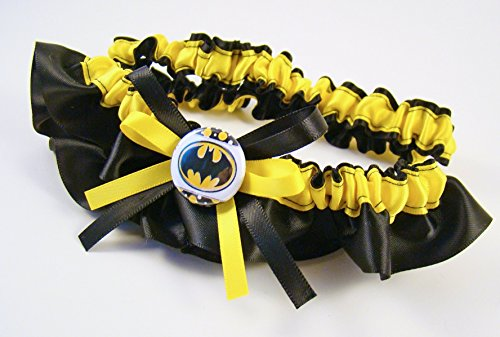 SEXY Superhero Character Inspired Black & Yellow Bridal Satin Wedding Keepsake Or Garter SET