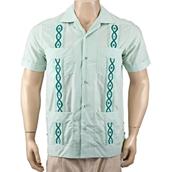 Light Green-Dark Green Guayabera Poly-Cotton