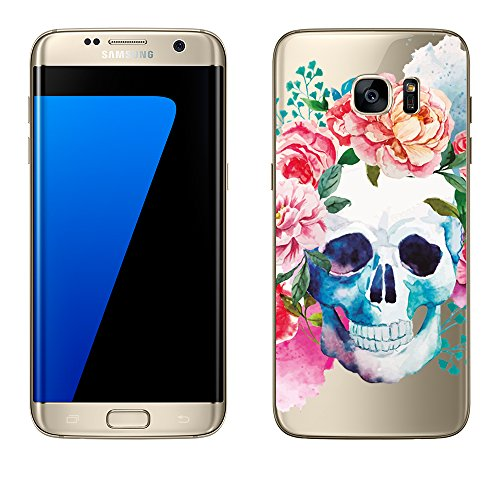 'Samsung Galaxy S6di licaso® in TPU protegge il tuo S65,1per cellulare Cover Case trasparente chiara per cellulare GalaxyS6galaxys7Borsa silicone Style, Skull Aquarell, Samsung Galaxy S7 Edge