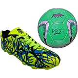 Port Unisex PU Combo Pack Of Soccer Ball And Soccer,Cleats,Football Shoes