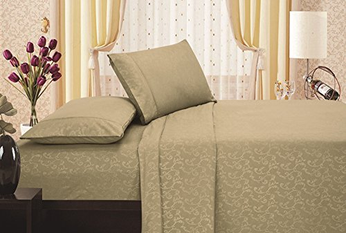 Brushed Microfiber 1800 Series Embossed Flower Sheet Set, fitted sheet, flat sheet, pillowcases (Queen, Bone)