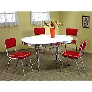 5pcs Retro Chrome Plated Oval Dining Table 4 Red Chairs Set