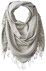 Keds Women's Square Scarf with Fringe, Ghost Micro Dot, One Size