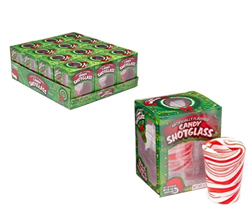 Gomangos Fashion Bee International Peppermint Candy Cane Edible Christmas Shot Glass - 12pk