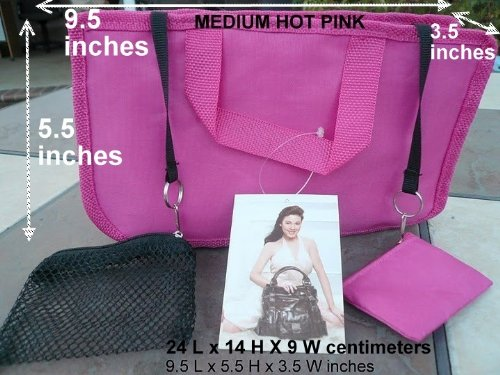 $ 13.99 FREE SHIP USA NEW HOT PINK Hand BAG Organizer/purse/tote Insert Addon Organizer A Must for All Bags. Switch Bags in Seconds!