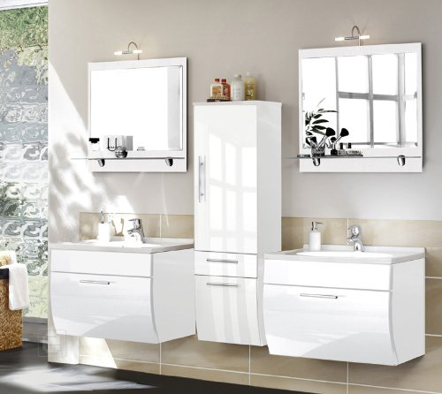5tlg badkombination toronto in hochglanz weiss. Black Bedroom Furniture Sets. Home Design Ideas