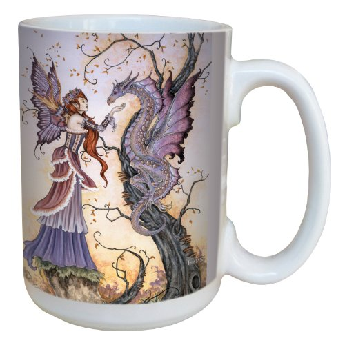 Tree-Free Greetings Lm43557 Fantasy The Dragon Charmer Fairy Ceramic Mug With Full Sized Handle By Amy Brown, 15-Ounce