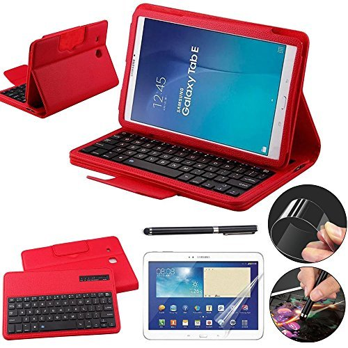 Galaxy Tab E 9.6 Keyboard Case with Screen Protector & Stylus, REAL-EAGLE Separable Fit PU Leather Case Cover Magnetically Bluetooth Keyboard For Tab E 9.6 Inch SM-T560,T561,T567,Red (Color: Red, Tamaño: Samsung Galaxy Tab E 9.6)