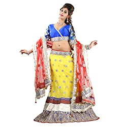 Triveni Net Lehenga Cholis (TSSF10019_Yellow)