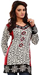 Long India Tunic Top Womens Kurti Printed White Blouse Indian Clothing