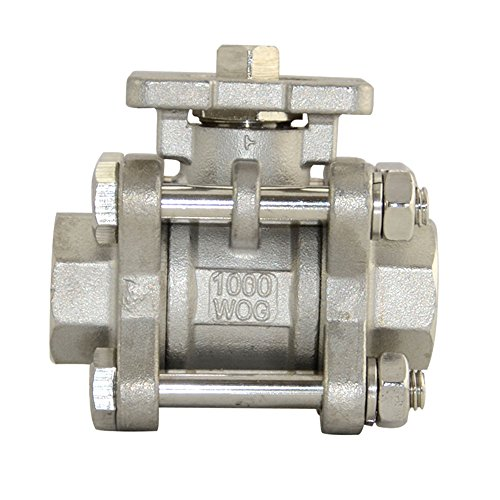 "Superwhole 1/2"" Npt 3 Pc Full Port Ball Valve Ss304 Cf8M Actuator Mounting Pad Iso 5211"