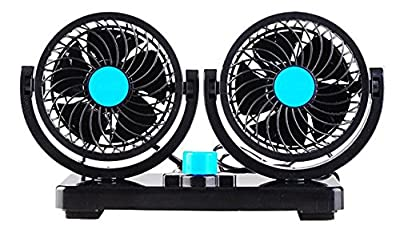 AboveTEK® Dual Head Car Auto Cooling Air Fan - Quickly Blow Away Hot Air Smoke Smell Bad Odors - Defrost Windshield Cool Down Summer Vehicles in Minute - Powerful Quiet 2 Speed Rotatable 12V Ventilation Dashboard Electric Fans with Kids Safe Design