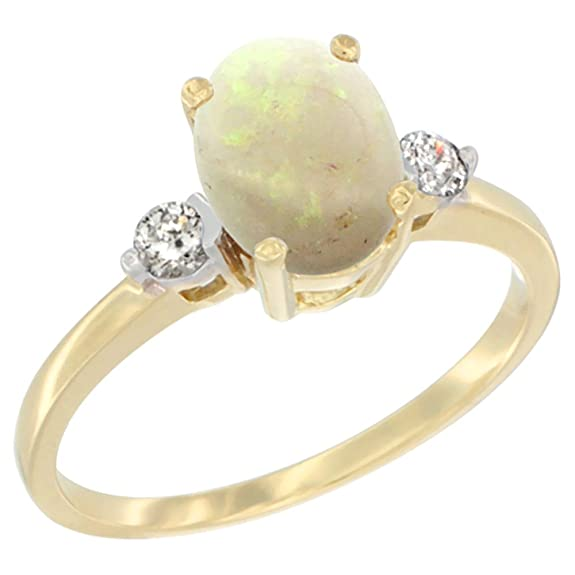 14ct Yellow Gold Natural Opal Ring Oval 7x9mm Diamond Accent, sizes J to T