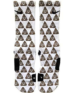 HQcustomz Emoji Poop Custom Nike Elite Socks at Amazon Men's