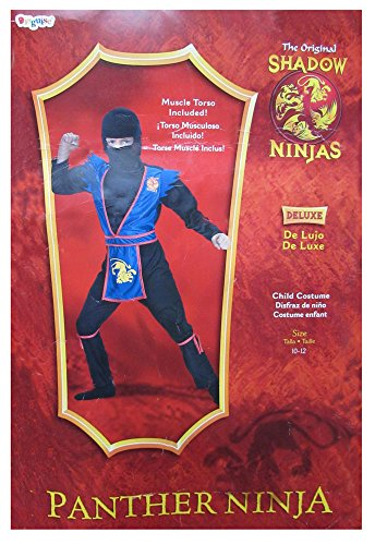 Disguise Boys 'Panther Ninja' Halloween Costume, Black/Blue/Gold, L (Gold Ninja Costume Boys compare prices)