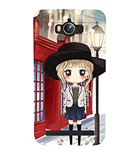 Fuson Premium Back Case Cover Cute office Girl With Red Background Degined For Asus Zenfone Max