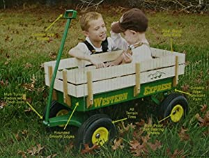 Amazon Com Western Express Green Wooden Kids Wagon Toys