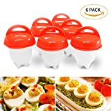 Egg Maker Set 6 Packs, Nonstick Silicone Eggs Boiler Cookers without Egg Shell