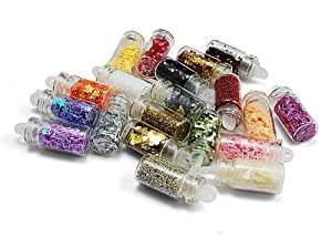 20 Types Nail Art Mini Glitter Sheets Acrylic Tips