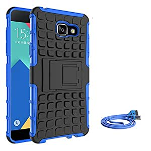 SDO™ Rugged Dual Layer Kickstand Hybrid Warrior Case Back Cover for Samsung Galaxy A5(2016) - Blue + Smiley LED Micro USB Charging Cable