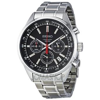 discount seiko chronograph black stainless steel