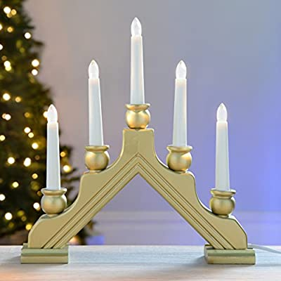 WeRChristmas 30 cm Gold PreLit Wooden Candle Bridge Window Table Christmas Decoration with 5 LED Candles by WeRChristmas