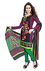 HK Trading Women's Crepe Unstitched Dress Material (MHARI30548821550_Black Green_Free Size)