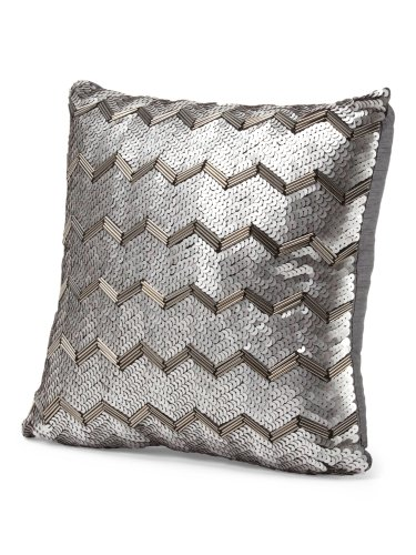 Tahari Home Decorative Pillows : Tahari Home Chevron Decorative Sequined Throw Pillow Gunmetal Zig Zag Silver eBay