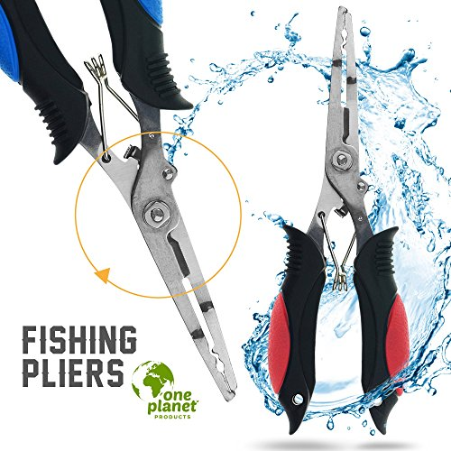 Fishing Pliers in Red and Blue (2 Pack) by One Planet, Multi-Purpose Professional Grade Line and Braid Cutter, Made with