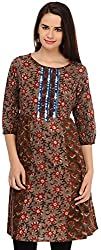 Aana Browns Aana Hand Block Print Kurta-Medium