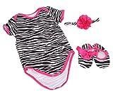 Healthy Clubs 3pcs Mädchen-Baby-Zebra Striped Body Strampler Stirnband Schuhe Kleidung Set ( Mehrfarbig , 3-6 Monate )