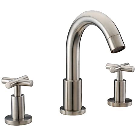 "Dawn AB03 1513BN 3-Hole Widespread Lavatory Faucet with Cross Handles for 8"" Centers, Brushed Nickel"