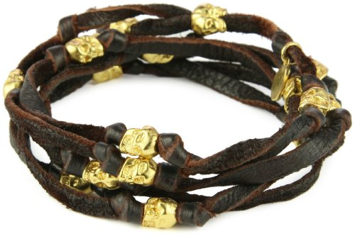 M.Cohen Handmade Designs Brown Leather Wrap Bracelet with Skulls