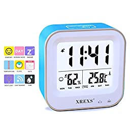 Table Clock,XREXS Digital Desk Alarm Clock with Month / Week / Day / Humidity / Temperature (C / F) Display,Rechargeable,Backlight,Electronic Clock for Kids / Teens / Girls / Heavy Sleepers (Blue)