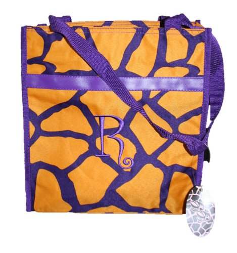 Monogrammed Gold and Purple Zippered Tote Bag (R) - 1