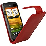 igadgitz Rot Leder Tasche SchutzHülle Hülle Etui case für HTC One S Android Smartphone Handy + Display Schutzfolie