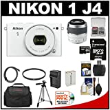 Nikon 1 J4 Digital Camera & 10-30mm PD Zoom Lens (White) with 30-110mm Lens + 32GB Card + Case + Battery & Charger + Tripod + Kit