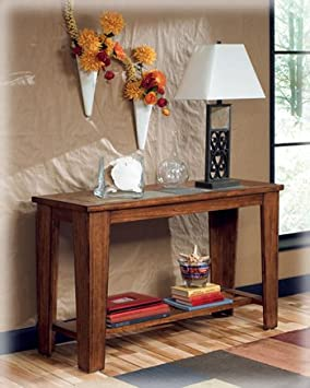 Signature Design by Ashley Toscana Sofa Table Wood with Natural Slate Tiles