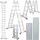15.5FT Platform Multi-Purpose Folding Aluminum Ladder EN131 Certifiled Multip...