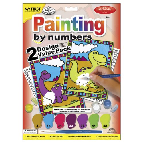 Royal Brush My First Paint By Number Kit 8.75 by 11.375-Inch 2-Pack-Dinosaurs and Volcano - 1