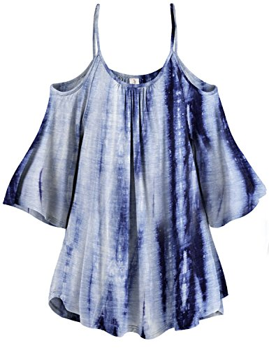 Plus Size 3/4 Sleeve White Lined Cold Shoulder Tunic Tops,013-Dark Blue,US 3XL