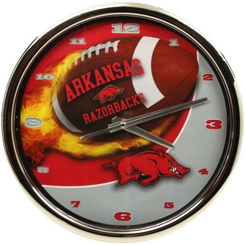 Arkansas Razorbacks Flame Chrome Clock