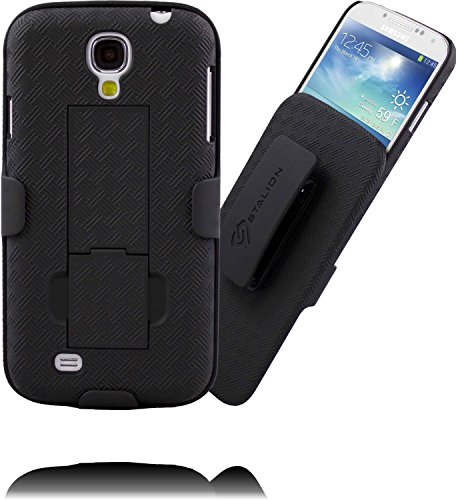Samsung Galaxy S4 Mini Case Stalion® Secure Holster Shell & Belt Clip Kickstand Combo (Jet Black) 180° Degree RotatingLocking Swivel + Shockproof Protection (Samsung Spigen Case S4 Mini compare prices)