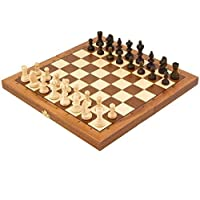 Portable Folded Wooden Chess Board With Wooden Peaces Classic Game Of Brilliance