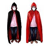 F-POWER ハロウィン仮装リバーシブル黒&赤ロングマント吸血鬼ドラキュラコスプレパーティーハロウィン必需品大人子供用(120CM)