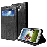 Cbus Wireless Crocodile Skin PU Leather Flip Cover Case w/ Stand & Credit Card Holder for Samsung Galaxy S4 SIV i9500 - Black
